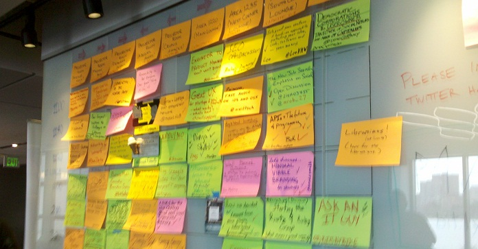 Image of schedule grid at BarCamp Boston 7